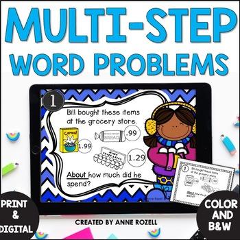 Word Problem Task Cards-Set A- 2 Versions!