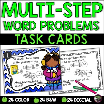 Word Problem Task Cards-Set A- 2 Versions!