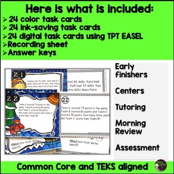 Word Problems Task Cards Set A : Extra Info and Multi-Step