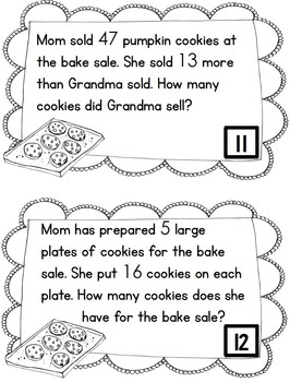 Word Problem Task Cards to 100 - Cookies