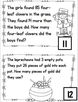 Word Problem Task Cards to 100- Leprechauns, Shamrocks and Gold