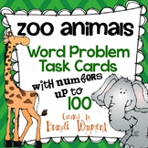 Word Problem Task Cards to 100 - Zoo Animals