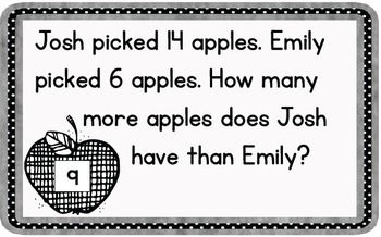 Word Problem Task Cards to 20 - Apples