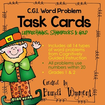 Word Problem Task Cards to 20- Leprechauns, Shamrocks and Gold