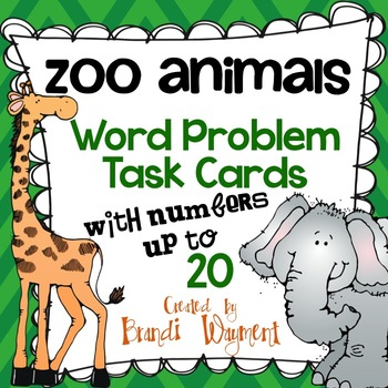 Word Problem Task Cards to 20 - Zoo Animals