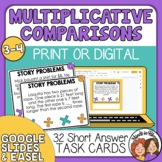 Word Problem Task Cards for Multiplicative Comparison Cards for CCSS 4.OA.2