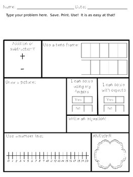 word problem template addition and subtraction within 20 editable. Black Bedroom Furniture Sets. Home Design Ideas