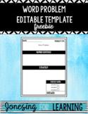 Word Problem Template Editable *Freebie*