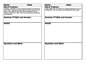 Word Problems in Journal Size Template, Step Up to Third Grade