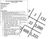 Word Problem Tic-Tac-Toe Review Game - VA Math SOL 3.3