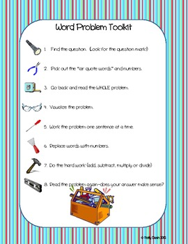 Word Problem Toolkit--Strategy to Teach Students to Solve Word Problems