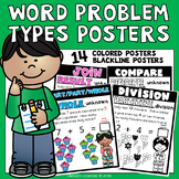 Word Problem Types Visual Posters: 14 colored and 14 black line
