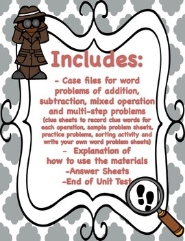 Word Problem Unit - Problem Solving Detectives - Common Core Aligned