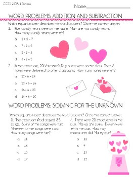 Word Problem Valentine Freebie!