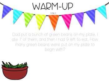 Word Problem Warm-Up Fall FREEBIE  1.OA.1