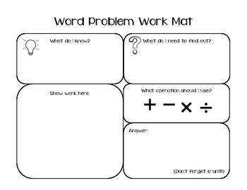 Word Problem Work Mat