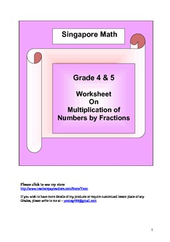 Word Problem Worksheet - Multiplication by Fractions Grade 4 and 5