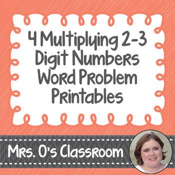 4 Multiplying 2 and 3-Digit Numbers Word Problem Worksheets/Printables with Keys