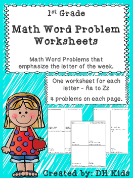 Word Problem Worksheets 1st Grade By Dh Kids Tpt