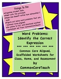 Word Problem Worksheets: Identify The Correct Expression, Common Core Gr 3, 4, 5