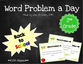 Word Problem a Day - 2nd Grade (Back to School)