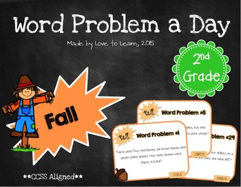 Word Problem a Day - 2nd Grade (Fall)