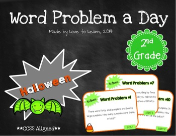 Word Problem a Day - 2nd Grade (Halloween)