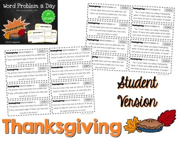 Word Problem a Day - 2nd Grade (Thanksgiving)