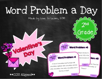 Word Problem a Day - 2nd Grade (Valentine's Day)