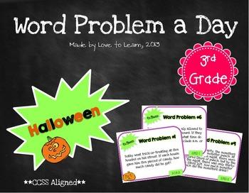 Word Problem a Day - 3rd Grade (Halloween)