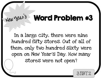 Word Problem a Day - 3rd Grade (New Year's)