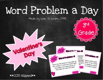 Word Problem a Day - 3rd Grade (Valentine's Day)