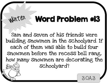 Word Problem a Day - 3rd Grade (Winter)