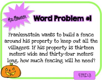 Word Problem a Day - 4th Grade (Halloween)