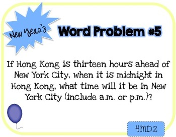 Word Problem a Day - 4th Grade (New Year's)
