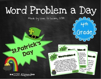 Word Problem a Day - 4th Grade (St. Patrick's Day)
