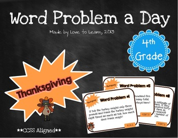 Word Problem a Day - 4th Grade (Thanksgiving)