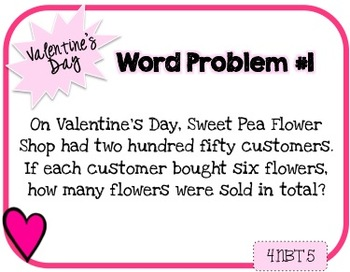 Word Problem a Day - 4th Grade (Valentine's Day)