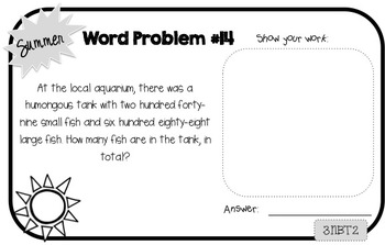 Word Problem a Day Summer Take-Home Booklet 3rd Grade