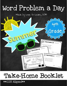 Word Problem a Day Summer Take-Home Booklet 4th Grade