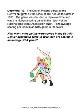 Word Problem of the Day - December - Intermediate Level