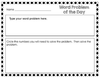Word Problem of the Day Editable