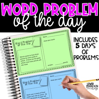 Word Problem of the Day FREEBIE!  Paper and Digital Use!