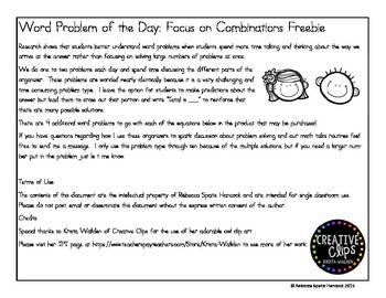 Word Problem of the Day: Focus on Combinations - FREEBIE