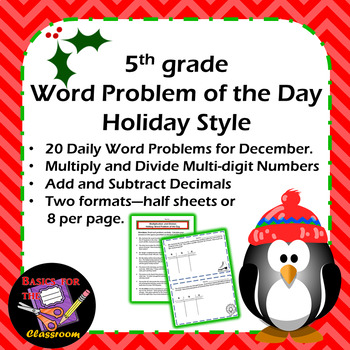 Word Problem of the Day Holiday Style