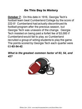 Word Problem of the Day - October - Intermediate Level