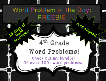 4th grade - Word Problem of the Day: Freebie