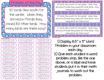 180 Word Problem Labels, Journal Inserts, and Matching Display Problems