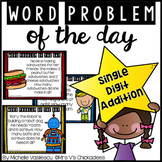 Word Problem of the Day: Single Digit Addition: With White Board Slides
