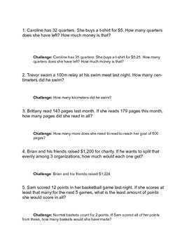 Word Problem of the Week- 25 problems with answer sheet